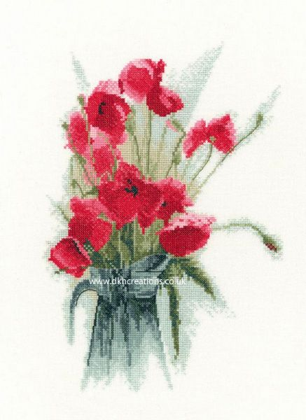 Jug Of Poppies Cross Stitch Kit